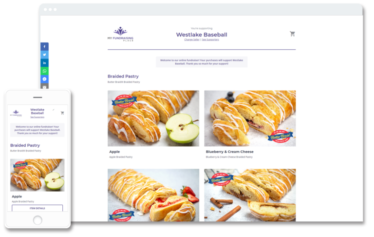 Online store image on computer and phone screen with butter braid pastry images